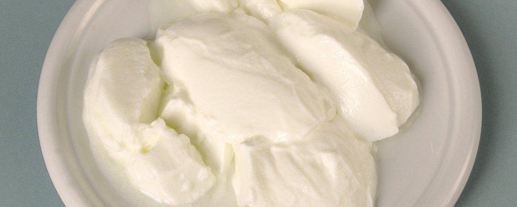 beyaz tabak içinde kaşıkla yerleştirilmiş yoğurt